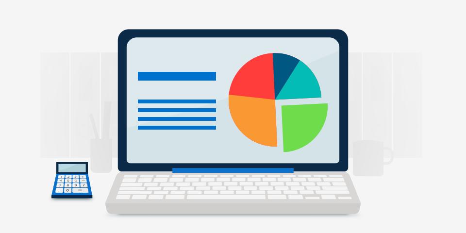 Escritorio con gráficas contables
