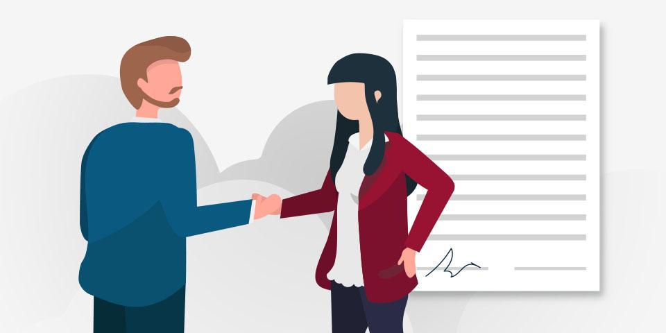 Hombre y mujer afirmando su contratoñl