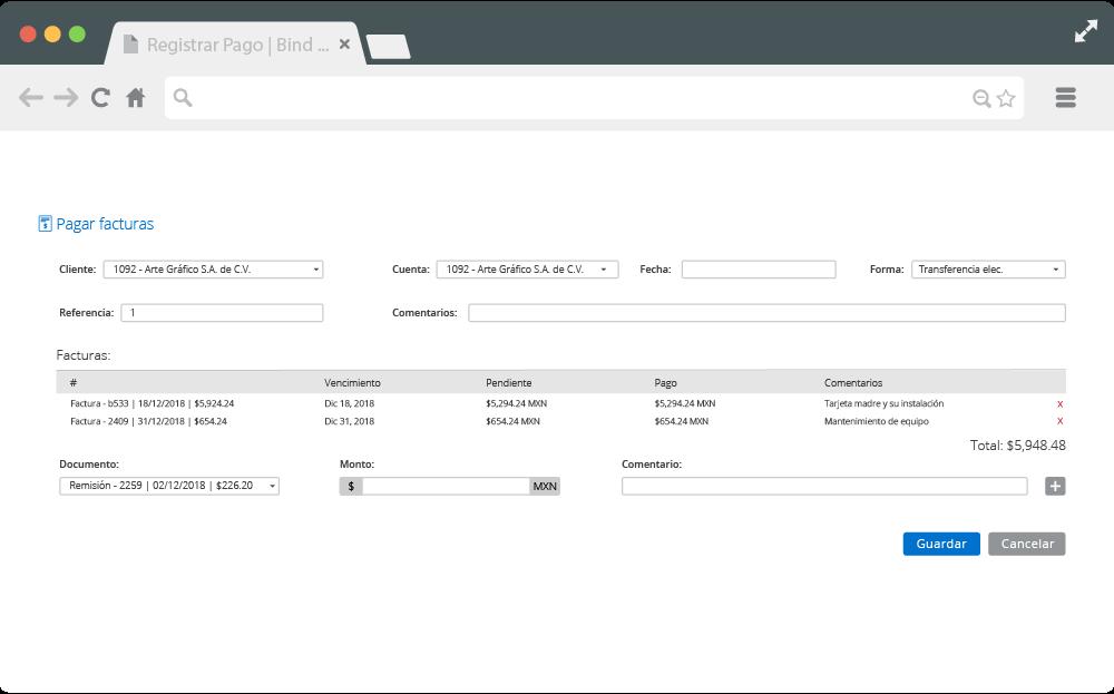 Pantalla de Complemento 3.3 para varias facturas de Bind ERP