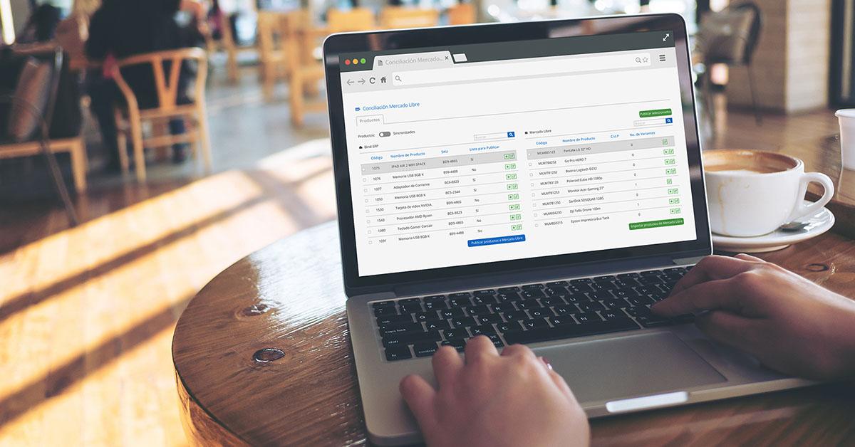 Pantalla de integración de Bind ERP con Mercado Libre