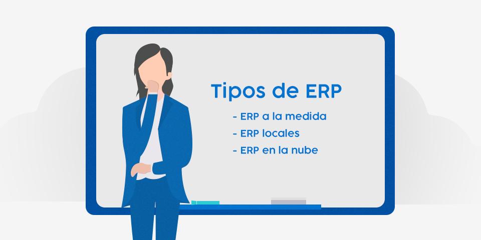 Gerente de empresa enseñando los diferentes tipos de ERP